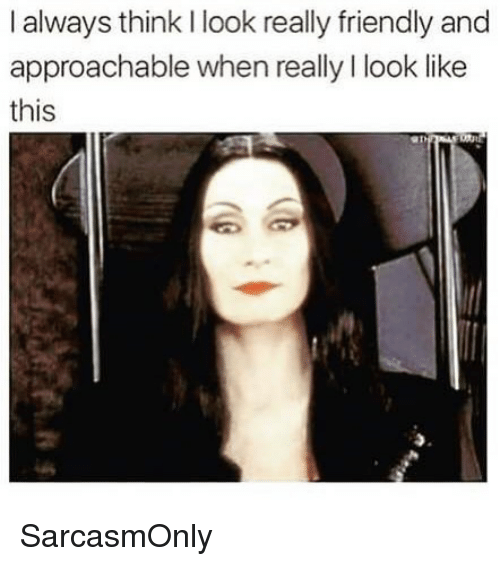 Funny, Memes, and Think: I always think I look really friendly and  approachable when really I look like  this SarcasmOnly