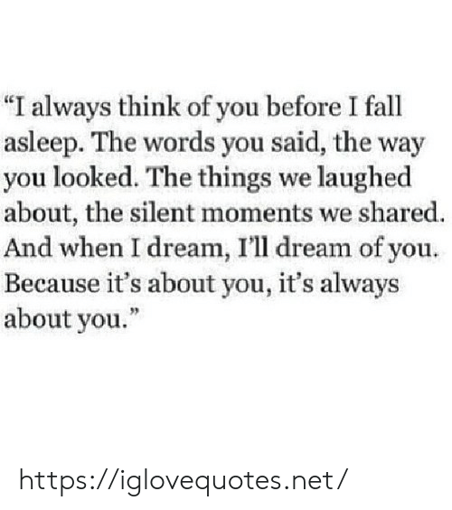 """Fall, Net, and Dream: """"I always think of you before I fall  asleep. The words you said, the way  you looked. The things we laughed  about, the silent moments we shared.  And when I dream, I'll dream of you.  Because it's about you, it's always  about you."""" https://iglovequotes.net/"""
