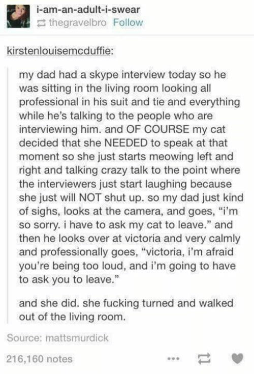 """Crazy, Dad, and Fucking: i-am-an-adult-i-swear  thegravelbro Follow  kirstenlouisemcduffie:  my dad had a skype interview today so he  was sitting in the living room looking all  professional in his suit and tie and everything  while he's talking to the people who are  interviewing him. and OF COURSE my cat  decided that she NEEDED to speak at that  moment so she just starts meowing left and  right and talking crazy talk to the point where  the interviewers just start laughing because  she just will NOT shut up. so my dad just kind  of sighs, looks at the camera, and goes, """"i'm  so sorry. i have to ask my cat to leave."""" and  then he looks over at victoria and very calmly  and professionally goes, """"victoria, i'm afraid  you're being too loud, and i'm going to have  to ask you to leave.""""  and she did. she fucking turned and walked  out of the living room.  Source: mattsmurdick  216,160 notes"""