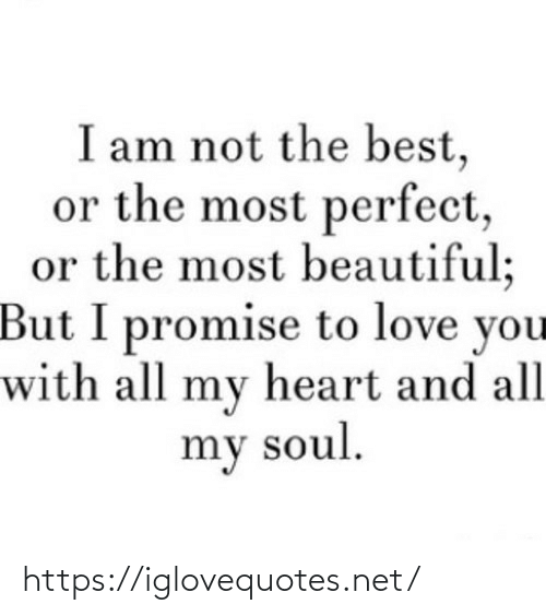 love you: I am not the best,  or the most perfect,  or the most beautiful;  But I promise to love you  with all my heart and all  my soul. https://iglovequotes.net/
