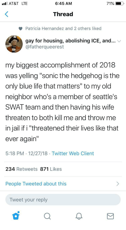 "Jail, Life, and Twitter: I AT&T LTE  6:45 AM  71%  Thread  Patricia Hernandez and 2 others liked  gay for housing, abolishing ICE, and...  @fatherqueerest  my biggest accomplishment of 2018  was yelling ""sonic the hedgehog is the  only blue life that matters"" to my old  neighbor who's a member of seattle's  SWAT team and then having his wife  threaten to both kill me and throw me  in jail if i ""threatened their lives like that  ever again'""  5:18 PM . 12/27/18 Twitter Web Client  234 Retweets 871 Likes  People Tweeted about this  Tweet your reply"