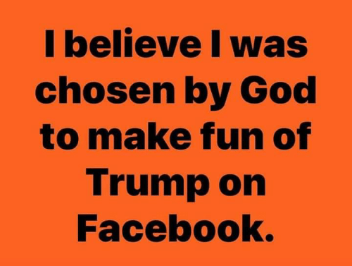 Facebook, God, and Trump: I believe I was  chosen by God  to make fun of  Trump on  Facebook.