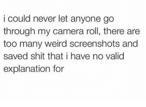 Memes, Shit, and Weird: i could never let anyone go  through my camera roll, there are  too many weird screenshots and  saved shit that i have no valid  explanation for