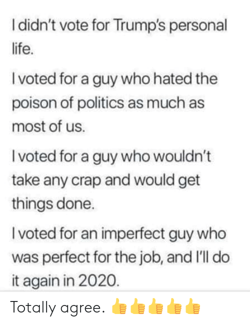 i voted: I didn't vote for Trump's personal  life.  I voted for a guy who hated the  poison of politics as much as  most of us.  I voted for a guy who wouldn't  take any crap and would get  things done.  I voted for an imperfect guy who  was perfect for the job, and I'll do  it again in 2020. Totally agree. 👍👍👍👍👍