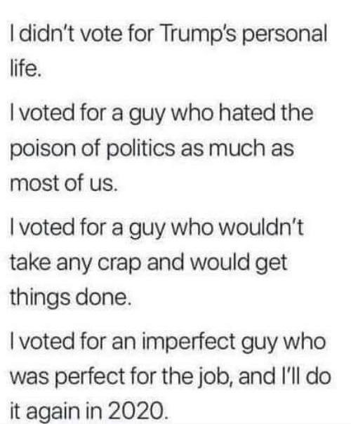 i voted: I didn't vote for Trump's personal  life.  I voted for a guy who hated the  poison of politics as much as  most of us.  I voted for a guy who wouldn't  take any crap and would get  things done.  I voted for an imperfect guy who  was perfect for the job, and I'll do  it again in 2020.