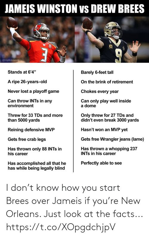Facts: I don't know how you start Brees over Jameis if you're New Orleans. Just look at the facts... https://t.co/XOpgdchjpV