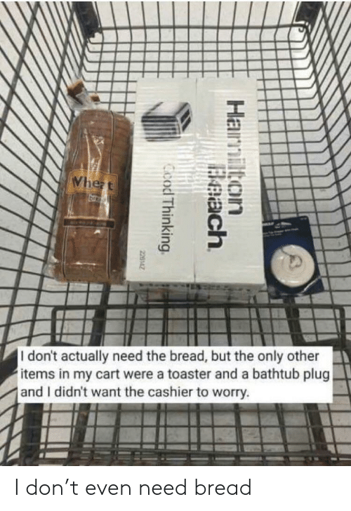 Bread, Don, and Plug: I don't actually need the bread, but the only other  items in my cart were a toaster and a bathtub plug  and I didn't want the cashier to worry. I don't even need bread