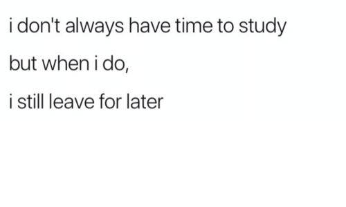 i dont always: i don't always have time to study  but when i do,  i still leave for later