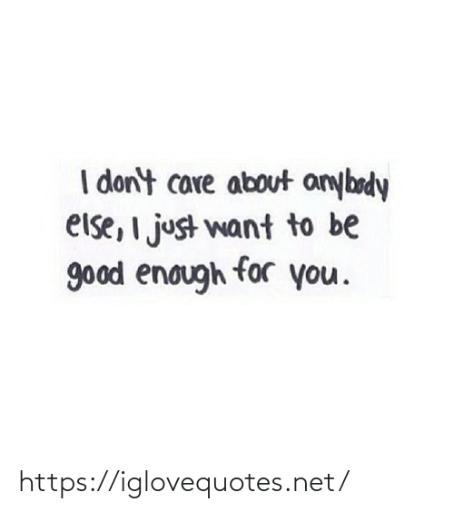 Be Good: I don't care about anybody  else, I just want to be  good enough for you. https://iglovequotes.net/