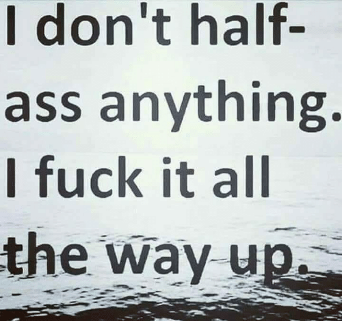 Ass, Funny, and Fuck: I don't half  ass anything.  I fuck it all  the way up