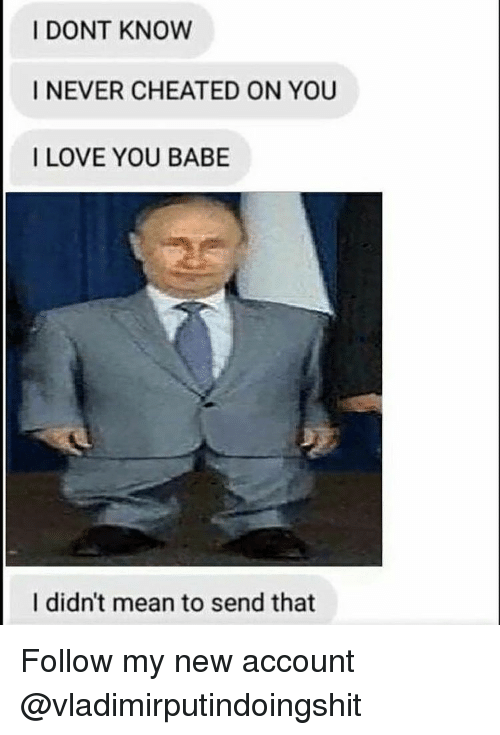 i love you babe: I DONT KNOW  I NEVER CHEATED ON YOU  I LOVE YOU BABE  I didn't mean to send that Follow my new account @vladimirputindoingshit