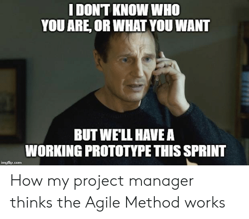 Sprint, How, and Prototype: I DONT KNOW WHO  YOU ARE, OR WHAT YOU WANT  BUT WE'LL HAVEA  WORKING PROTOTYPE THIS SPRINT  imgilip.com How my project manager thinks the Agile Method works