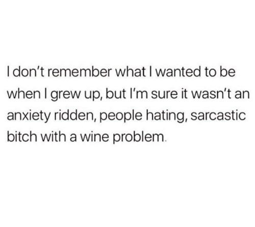 Bitch, Wine, and Anxiety: I don't remember what I wanted to be  when I grew up, but I'm sure it wasn't an  anxiety ridden, people hating, sarcastic  bitch with a wine problem.