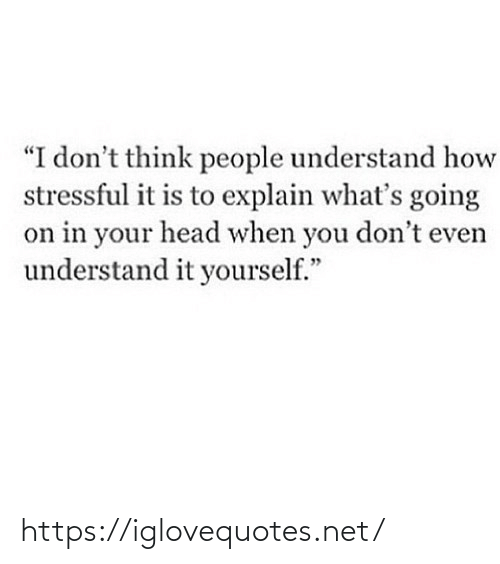 """Dont Think: """"I don't think people understand how  stressful it is to explain what's going  on in your head when you don't even  understand it yourself."""" https://iglovequotes.net/"""