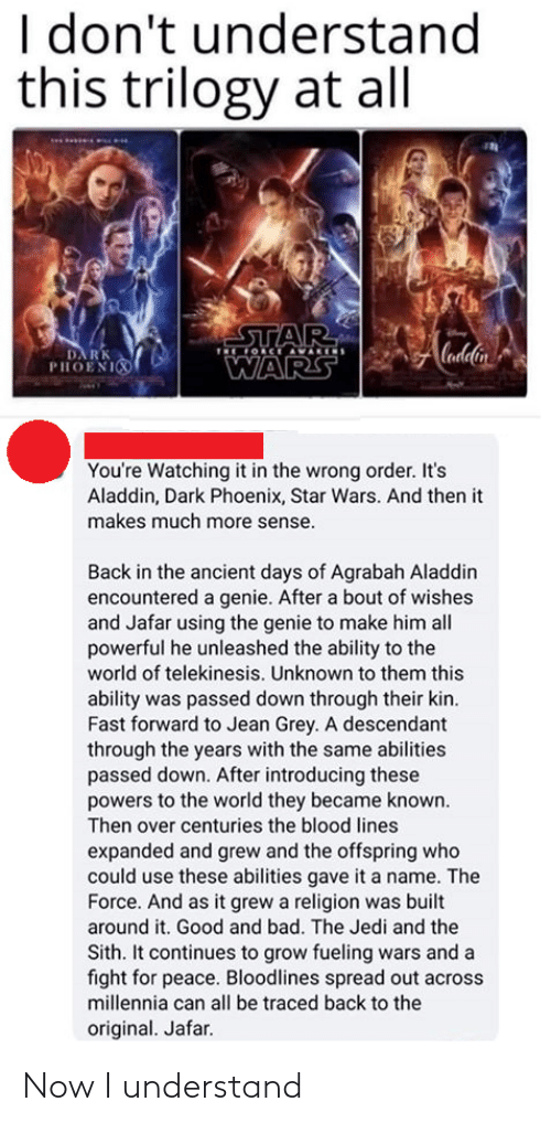 order: I don't understand  this trilogy at all  STAR  OCE AVARIS  Cadlin  DA RK  PHOENI  WARS  You're Watching it in the wrong order. It's  Aladdin, Dark Phoenix, Star Wars. And then it  makes much more sense.  Back in the ancient days of Agrabah Aladdin  encountered a genie. After a bout of wishes  and Jafar using the genie to make him all  powerful he unleashed the ability to the  world of telekinesis. Unknown to them this  ability was passed down through their kin.  Fast forward to Jean Grey. A descendant  through the years with the same abilities  passed down. After introducing these  powers to the world they became known.  Then over centuries the blood lines  expanded and grew and the offspring who  could use these abilities gave it a name. The  Force. And as it grew a religion was built  around it. Good and bad. The Jedi and the  Sith. It continues to grow fueling wars and a  fight for peace. Bloodlines spread out across  millennia can all be traced back to the  original. Jafar. Now I understand