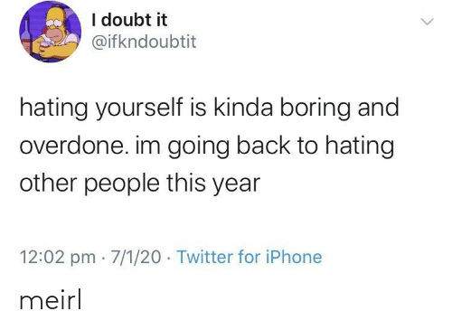 Hating: I doubt it  @ifkndoubtit  hating yourself is kinda boring and  overdone. im going back to hating  other people this year  12:02 pm · 7/1/20 · Twitter for iPhone meirl