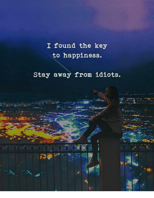 Happiness, Key, and Stay: I found the key  to happiness.  Stay away from idiots.