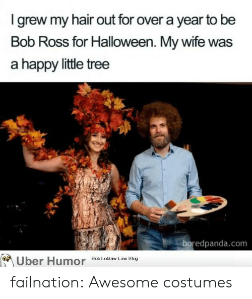 bob loblaw: I grew my hair out for over a year to be  Bob Ross for Halloween. My wife was  a happy little tree  boredpanda.com  Uber Humor  Bob Loblaw Law Blog failnation:  Awesome costumes