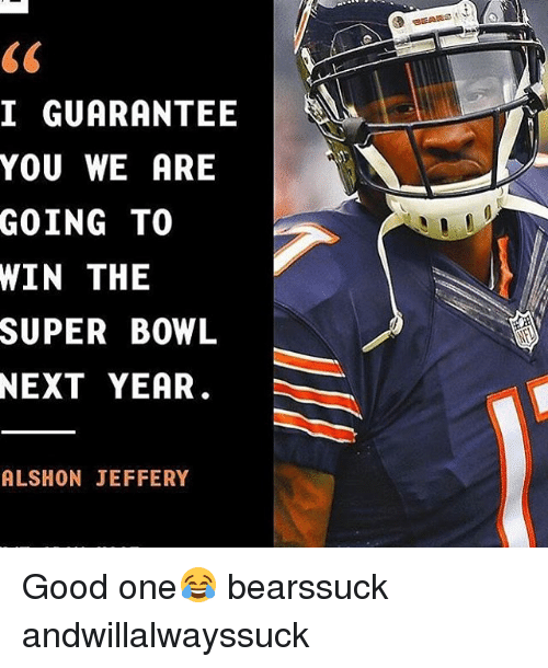 Memes, Super Bowl, and Alshon Jeffery: I GUARANTEE  YOU WE ARE  GOING TO  WIN THE  SUPER BOWL  NEXT YEAR.  ALSHON JEFFERY Good one😂 bearssuck andwillalwayssuck