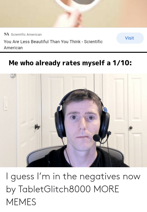 Guess: I guess I'm in the negatives now by TabletGlitch8000 MORE MEMES