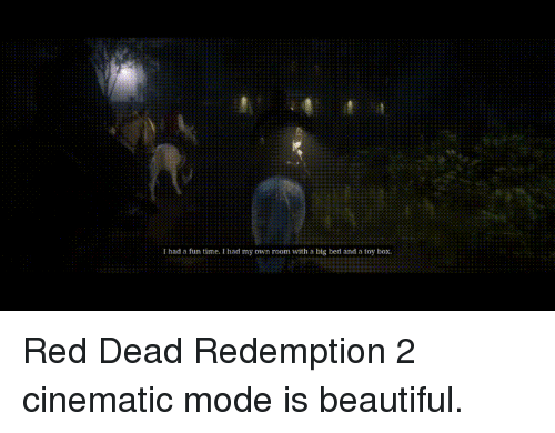 Beautiful, Time, and Red Dead Redemption: I had a fun time. I had my own room with a big bed and a toy box. Red Dead Redemption 2 cinematic mode is beautiful.