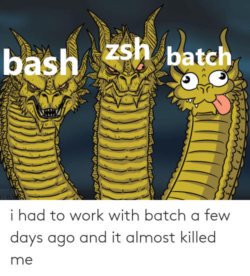 Work: i had to work with batch a few days ago and it almost killed me