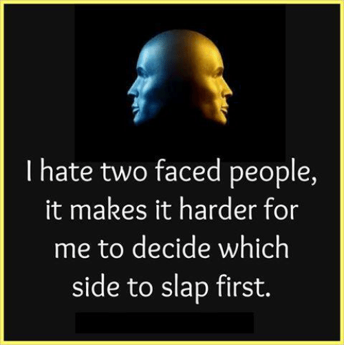 Memes, Two-Face, and 🤖: I hate two faced people,  it makes it harder for  me to decide which  side to slap first.