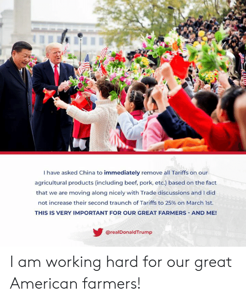 Beef, China, and American: I have asked China to immediately remove all Tariffs on our  agricultural products (including beef, pork, etc.) based on the fact  that we are moving along nicely with Trade discussions and I did  not increase their second tra unch of Tariffs to 25% on March 1st.  THIS IS VERY IMPORTANT FOR OUR GREAT FARMERS AND ME!  @realDonaldTrump I am working hard for our great American farmers!