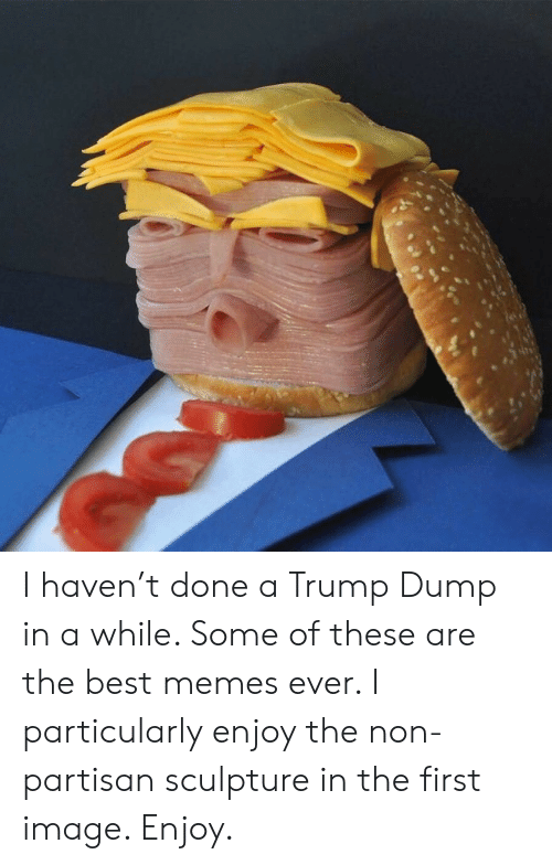 The Best Memes: I haven't done a Trump Dump in a while. Some of these are the best memes ever.  I particularly enjoy the non-partisan sculpture in the first image.  Enjoy.