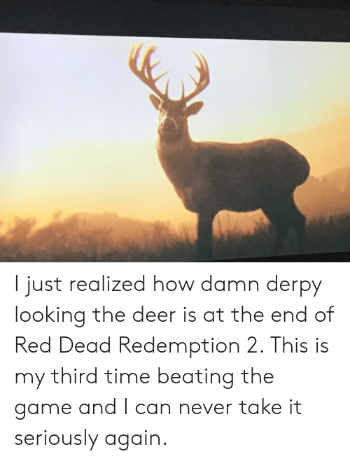 Deer, The Game, and Game: I just realized how damn derpy looking the deer is at the end of Red Dead Redemption 2. This is my third time beating the game and I can never take it seriously again.