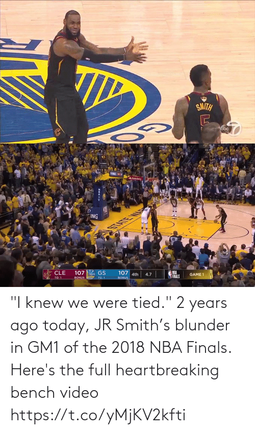 """Smith: """"I knew we were tied."""" 2 years ago today, JR Smith's blunder in GM1 of the 2018 NBA Finals.  Here's the full heartbreaking bench video https://t.co/yMjKV2kfti"""