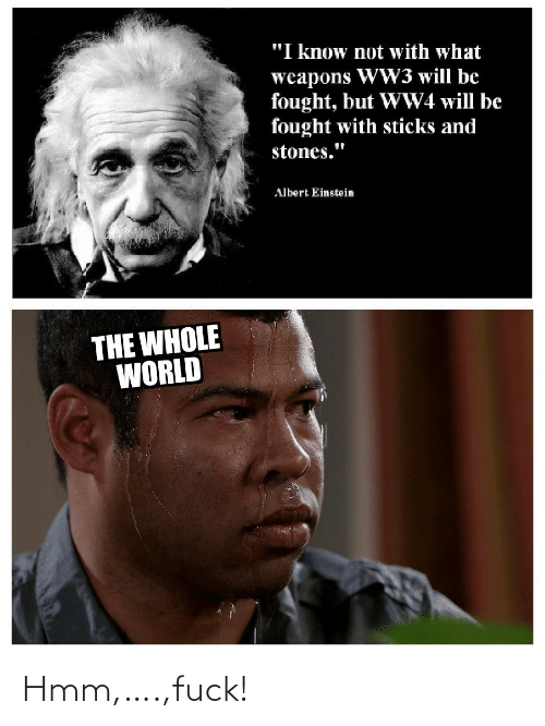 """Albert: """"I know not with what  weapons WW3 will be  fought, but WW4 will be  fought with sticks and  stones.""""  Albert Einstein  THE WHOLE  WORLD Hmm,….,fuck!"""