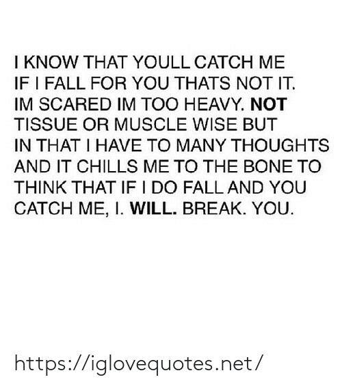 Fall: I KNOW THAT YOULL CATCH ME  IF I FALL FOR YOU THATS NOT IT.  IM SCARED IM TOO HEAVY. NOT  TISSUE OR MUSCLE WISE BUT  IN THAT I HAVE TO MANY THOUGHTS  AND IT CHILLS ME TO THE BONE TO  THINK THAT IF I DO FALL AND YOU  CATCH ME, I. WILL. BREAK. YOU. https://iglovequotes.net/