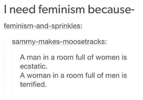 Feminism: I need feminism because-  feminism-and-sprinkles:  sammy-makes-moosetrackS:  A man in a room full of women is  ecstatic  A woman in a room full of men is  terrified.