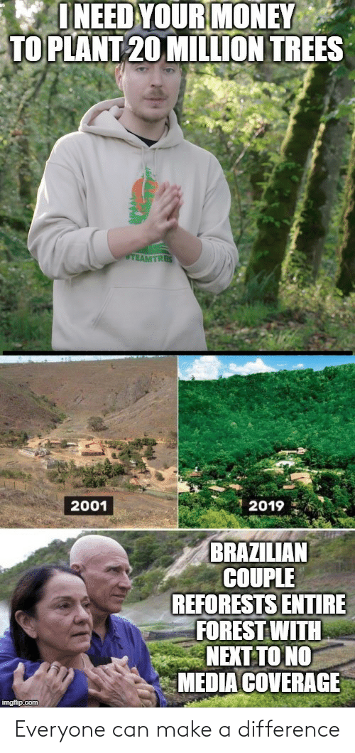 imgflip: I NEED YOUR MONEY  TO PLANT 20 MILLION TREES  TEAMTRES  2019  2001  BRAZILIAN  COUPLE  REFORESTS ENTIRE  FOREST WITH  NEXT TO NO  MEDIA COVERAGE  imgflip.com Everyone can make a difference