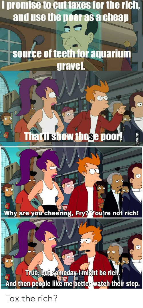 9gag, True, and Taxes: I promise to cut taxes for the rich,  and use the poor as a cheap  source of teeth for aquarium  gravel  Thatirshow those poor!  Why are youcheering, Fry? You're not rich!  True, but someday-lmight be rich  And then people like me better waątch their step.  VIA 9GAG Tax the rich?