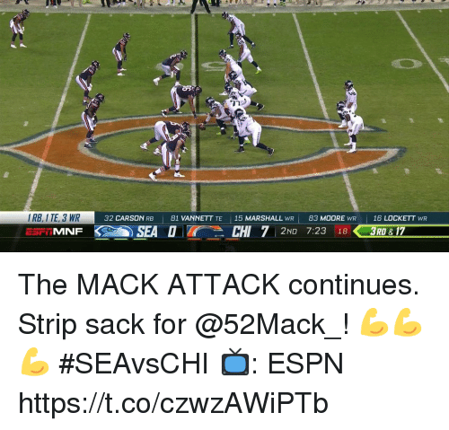 Espn, Memes, and 🤖: I RB, I TE, 3 WR  32 CARSON RB  81 VANNETT TE  15 MARSHALL WR |  83 MOORE WR  | 16 LOCKETT wR  |  SEADCHI 7 2ND 7:23 16  183RD & 17 The MACK ATTACK continues.  Strip sack for @52Mack_! 💪💪💪  #SEAvsCHI  📺: ESPN https://t.co/czwzAWiPTb