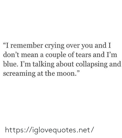 """the moon: """"I remember crying over you and I  don't mean a couple of tears and I'm  blue. I'm talking about collapsing and  screaming at the moon."""" https://iglovequotes.net/"""