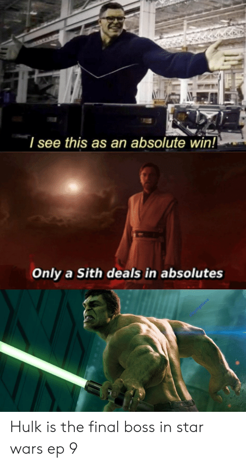 I See This as an Absolute Win! Only a Sith Deals in