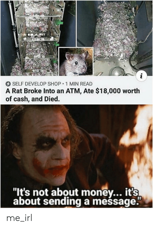 """Money, Irl, and Me IRL: i  SELF DEVELOP SHOP 1 MIN READ  A Rat Broke Into an ATM, Ate $18,000 worth  of cash, and Died  """"It's not about money... it's  about sendinga mešsage."""" me_irl"""