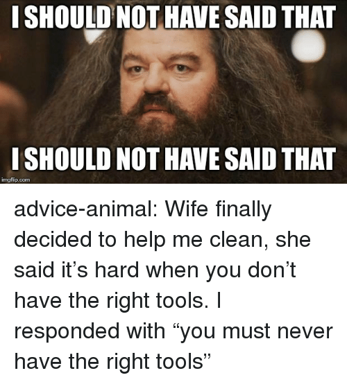 """Advice, Tumblr, and Animal: I SHOULD NOT HAVE SAID THAT  I SHOULD NOT HAVE SAID THAT  imgflip.com advice-animal:  Wife finally decided to help me clean, she said it's hard when you don't have the right tools. I responded with """"you must never have the right tools"""""""