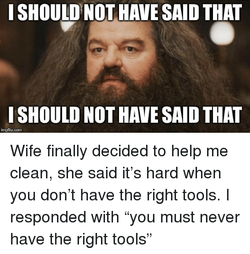"""Help, Wife, and Never: I SHOULD NOT HAVE SAID THAT  I SHOULD NOT HAVE SAID THAT  imgflip.com Wife finally decided to help me clean, she said it's hard when you don't have the right tools. I responded with """"you must never have the right tools"""""""