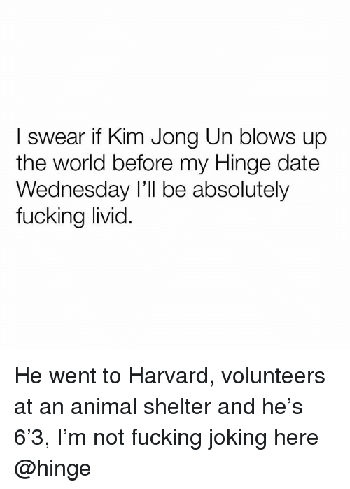 Fucking, Kim Jong-Un, and Animal: I swear if Kim Jong Un blows up  the world before my Hinge date  Wednesday I'll be absolutely  fucking livid He went to Harvard, volunteers at an animal shelter and he's 6'3, I'm not fucking joking here @hinge