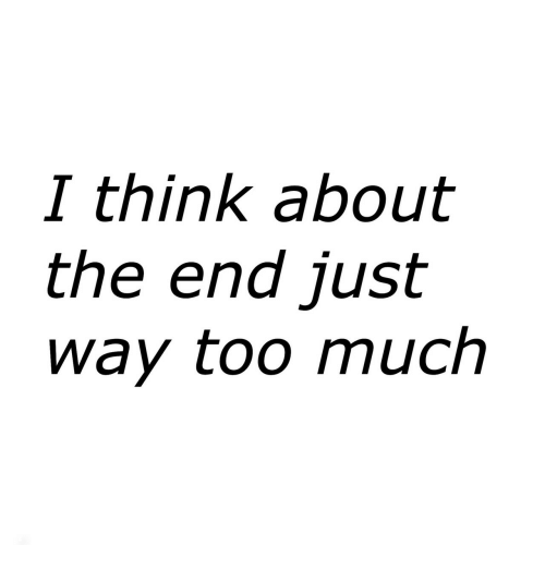 Too Much, Think, and The End: I think about  the end just  way too much