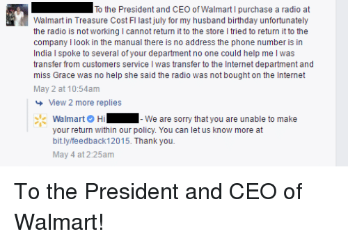 I to the President and CEO of Walmart L Purchase a Radio at