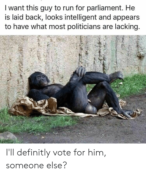 Run, Politicians, and Back: I want this guy to run for parliament. He  is laid back, looks intelligent and appears  to have what most politicians are lacking. I'll definitly vote for him, someone else?