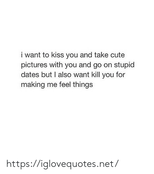 Kill You: i want to kiss you and take cute  pictures with you and go on stupid  dates but I also want kill you for  making me feel things https://iglovequotes.net/