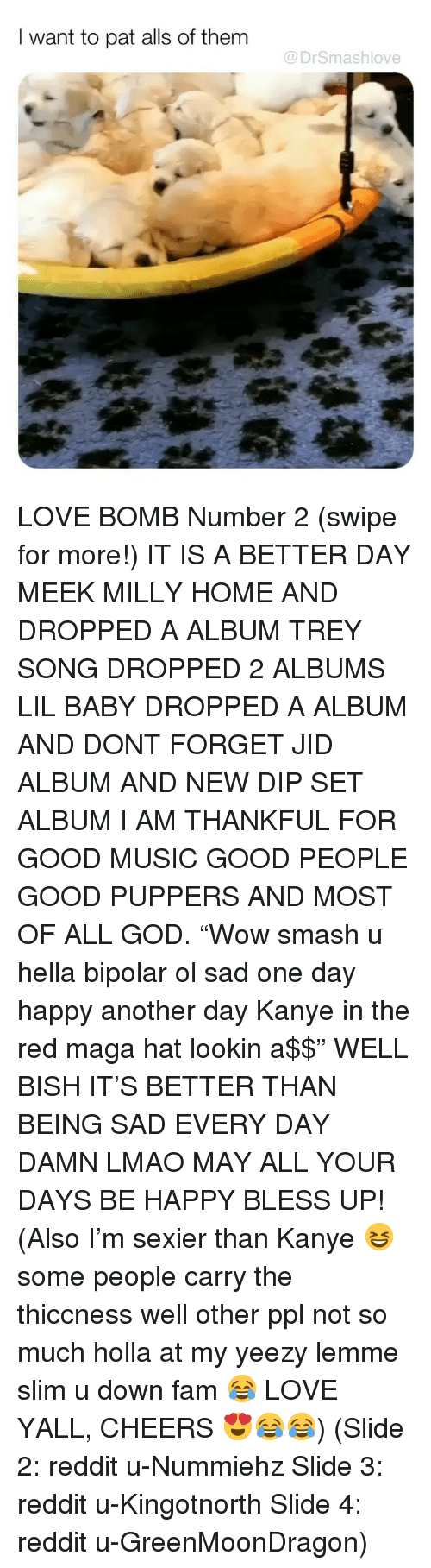 """Bless Up, Fam, and God: I want to pat alls of them  @DrSmashlove LOVE BOMB Number 2 (swipe for more!) IT IS A BETTER DAY MEEK MILLY HOME AND DROPPED A ALBUM TREY SONG DROPPED 2 ALBUMS LIL BABY DROPPED A ALBUM AND DONT FORGET JID ALBUM AND NEW DIP SET ALBUM I AM THANKFUL FOR GOOD MUSIC GOOD PEOPLE GOOD PUPPERS AND MOST OF ALL GOD. """"Wow smash u hella bipolar ol sad one day happy another day Kanye in the red maga hat lookin a$$"""" WELL BISH IT'S BETTER THAN BEING SAD EVERY DAY DAMN LMAO MAY ALL YOUR DAYS BE HAPPY BLESS UP! (Also I'm sexier than Kanye 😆 some people carry the thiccness well other ppl not so much holla at my yeezy lemme slim u down fam 😂 LOVE YALL, CHEERS 😍😂😂) (Slide 2: reddit u-Nummiehz Slide 3: reddit u-Kingotnorth Slide 4: reddit u-GreenMoonDragon)"""