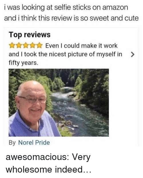 Amazon, Cute, and Selfie: i was looking at selfie sticks on amazon  and i think this review is so sweet and cute  Top reviews  Even I could make it work  and I took the nicest picture of myself in >  fifty years.  By Norel Pride awesomacious:  Very wholesome indeed…