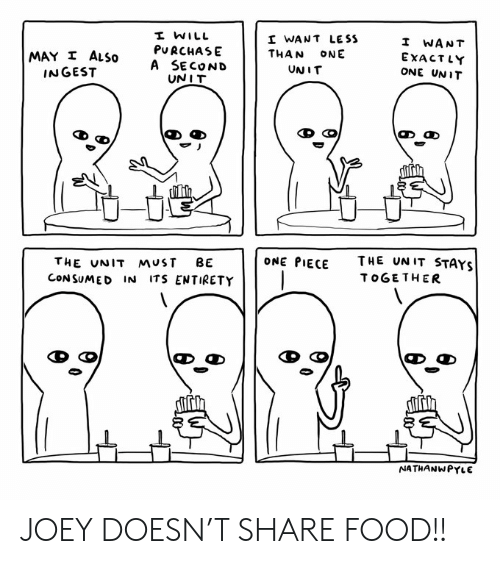 Share Food: I WILL  I WANT LE SS  I WANT  PURCHASE  A SECOND  UNIT  MAY I ALSO  INGEST  THAN  ONE  EXACTLY  UNIT  ONE UNIT  THE UN IT STAYS  ONE PIECE  THE UNIT MUST  BE  CONSUMED IN ITS ENTIRETY  TOGETHER  NATHANWPYLE JOEY DOESN'T SHARE FOOD!!